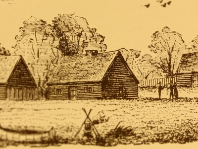 Yellowed image of a drawing of a log cabin in a field, with other neighboring log cabins nearby. Three figures distant stand near each other. In the foreground, pot hanging above a fire emits steam.