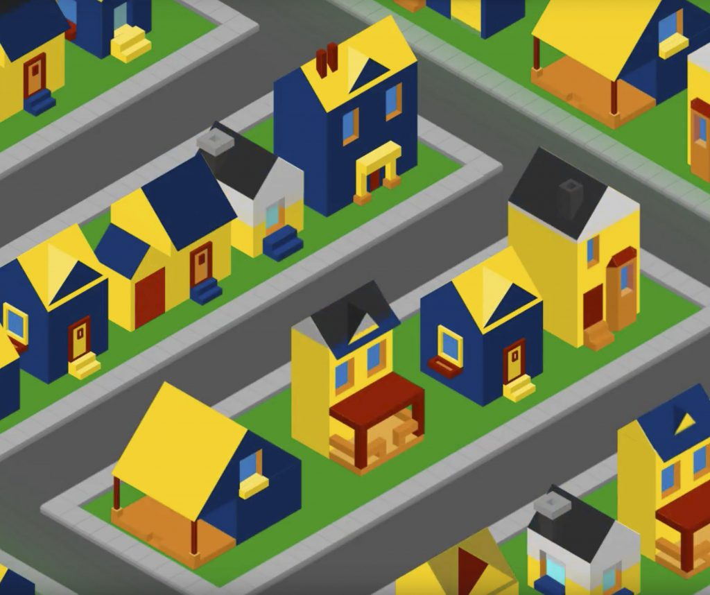Graphic of a neighborhood filled with various types of blue and yellow houses.