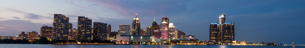 Detroit city skyline in the evening.