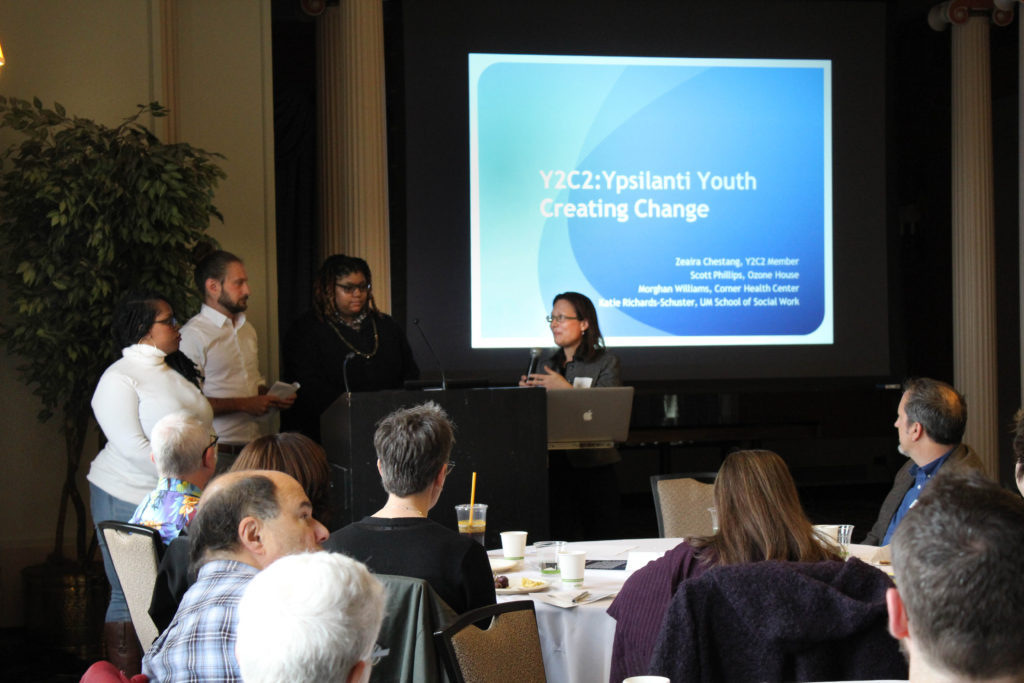 Morghan Williams, Scott Phillips, Zearia Chestang, and Katie Richards-Schuster present on Y2C2: Ypsilanti Youth Creating Change.