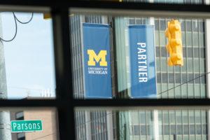U-M banners on Woodward Avenue in Detroit.