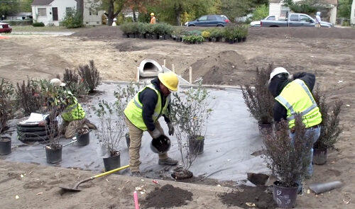 Researchers and partners in bright yellow vests and hard hats work on a small plot of land to build a garden.